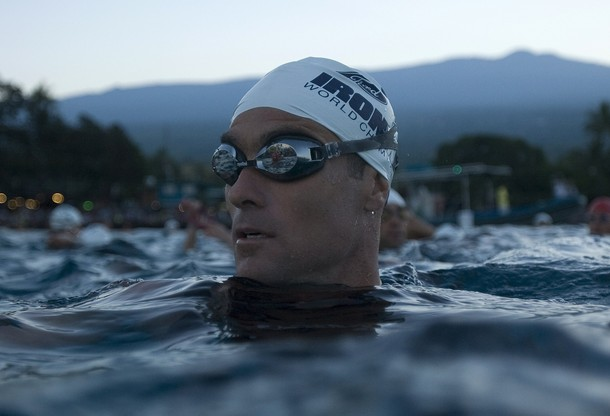 Professional triathlete Alexander of Australia waits for the start of the swim portion of the Ford Ironman World Championship triathlon in Kailua-Kona